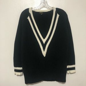 Audrey 3+1 Deep V-neck Sweater Small Ribbed